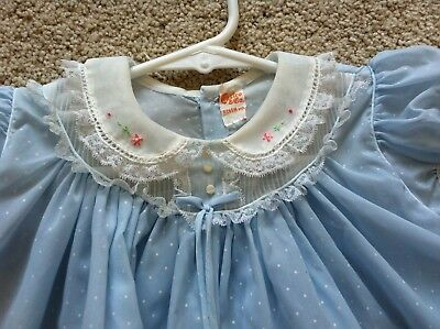 Vintage 50s Light Blue Sheer Dotted Swiss Easter Party Baby Dress Castro & Co