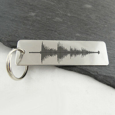Sound Wave Stainless Steel Key Chain -Audio File Heartbeat Custom Personalized