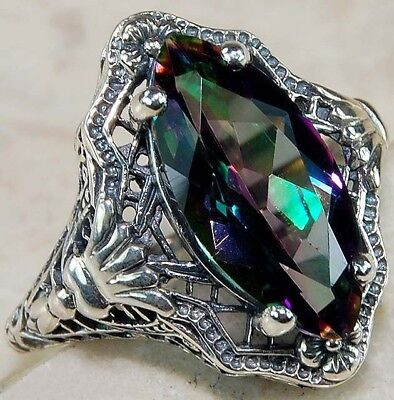 3CT Color Changing Rainbow Topaz 925 Sterling Silver Filigree Ring Jewelry Sz 7