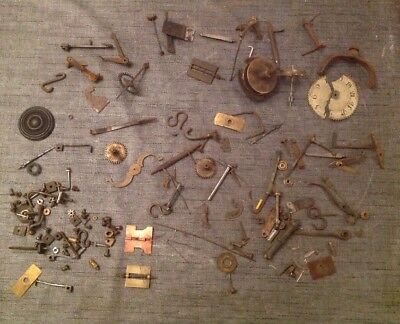 Antique Clock Parts From Clockmakers Scrap Box Large Lot
