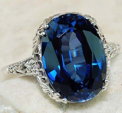 5CT Blue Sapphire 925 Solid Sterling Silver Edwardian Style Ring Jewelry Sz 7