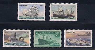 Merchant Marine Ships - Set Of 5 U.s. Postage Stamps - Mint Condition