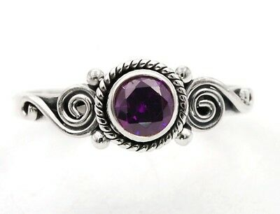 Amethyst 925 Solid Genuine Sterling Silver Ring Jewelry Sz 8