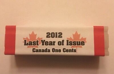 Roll of 2012 Canadian Pennies  Last Canadian Cent Sealed In Tube Never Opened