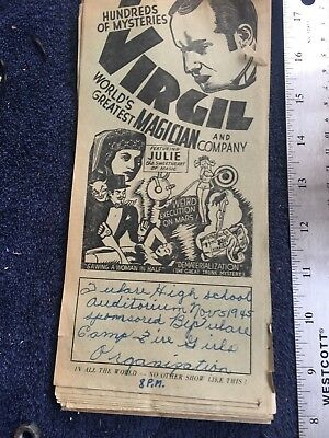 Magic Memorabilia Original Flyer for Magic Show Nov 5th 1945 Virgil the great