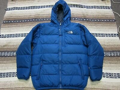 Boys The North Face Full Zip 550 Puffer Hooded Down Jacket Blue Gray X-Large Z49
