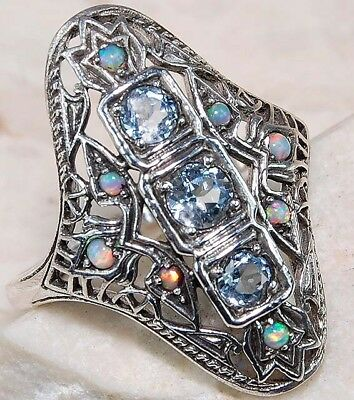 1CT Aquamarine & Fire Opal 925 Solid Sterling Silver Art Deco Ring Jewelry Sz 9