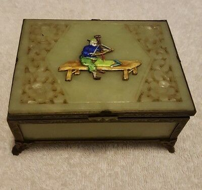 Antique Vintage Jade Trinket Jewelry Box With Cloisonne Chinese Man