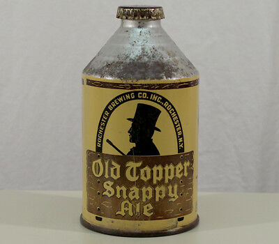Old Topper Snappy Ale Crowntainer Cone Top Beer Can & Cap Rochester, New York Ny