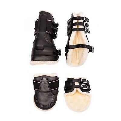 Show Jumping Jump Buckle Fleece Tendon Boots in Black / Brown Pony / Cob / Full