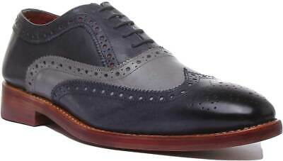 Justin Reece Brandon Mens Leather Lace up Brogues Size UK 6 - 12
