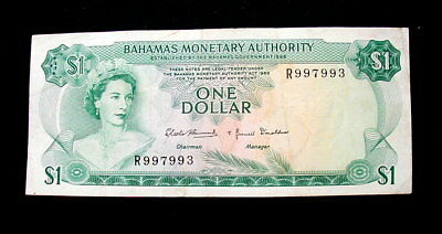 1968 BAHAMAS British rare Banknote 1 dollar VF+ VERY FINE HIGH QUALITY