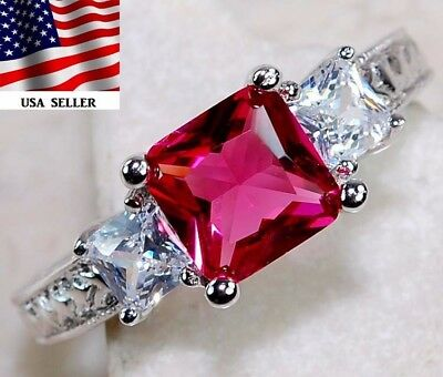 Ruby & White Topaz 925 Solid Genuine Sterling Silver Ring Jewelry Sz 7
