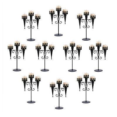 10 CANDLE HOLDERS: Gothic Wedding Black Medieval Triple Candle Stand Set NEW