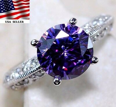 3CT Amethyst & White Topaz 925 Solid Genuine Sterling Silver Ring Jewelry Sz 9