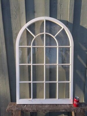 Antique Wood Window Sash Arch Top, true divided lights, small panes 30 x 46