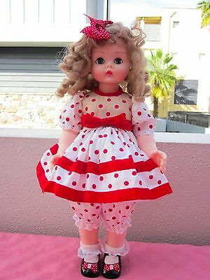 Vintage Madame Alexander Kelly Classic Doll,wearing Nice Party Polka Dot Dress,
