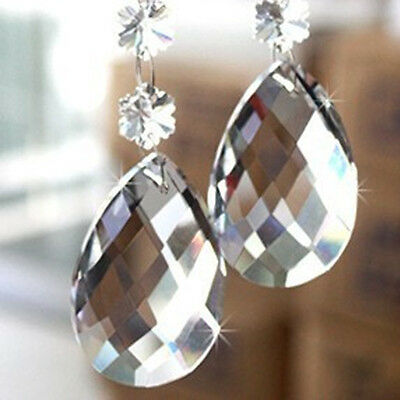 10/50 Pcs Clear Crystal Teardrop Hanging Chandelier Prisms Pendants Parts Beads