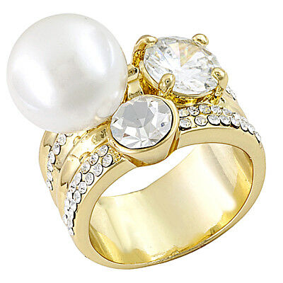 Stack White Ring Crystal & Pearl Simulant Gold Tone $249.95