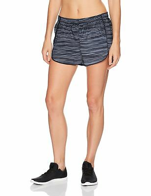 Hanes Women's Performance Run Short Black/Grey Glitch Stripe Medium New