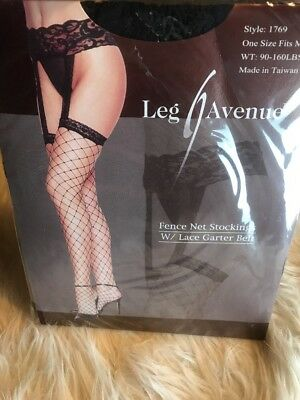 NEW Leg Avenue Fence Fish Net with Lace Garter Belt Stockings