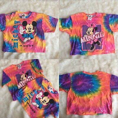 Vtg 90s Mickey Minnie Mouse Tie Dye Cropped Matching Tee Shirts Womens Large