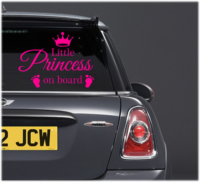 LITTLE PRINCESS On Board Baby Child Window Bumper Car Sign girl Sticker kids diy