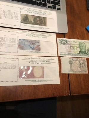 Lot Vintage Mixed Foreign World Currency Paper Money Banknotes Yuan Pesos Unc.