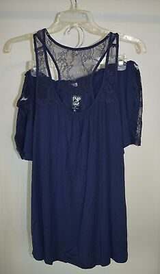 New Maternity Pip & Vine Rosie Pope Pajama Set Lace Shorts Tank Top Navy Blue XL