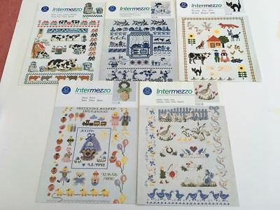 5 x Coats Anchor Intermezzo - Beautiful Set of Cross Stitch Pattern Leaflets