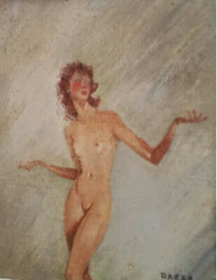 Peinture tableau JEUNE FEMME NUE - nude young woman by DAZZA painting of the 50s
