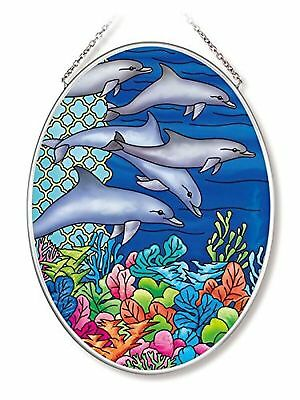 Amia 42568 Ocean Dolphins Medium Oval Suncatcher 7-Inch by 5.5-Inch Hand-... New