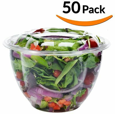 DOBI Salad To-Go Containers, 48oz, (50 Pack) - Clear Plastic Disposable S... New