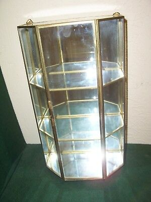 """VINTAGE BRASS & GLASS CURIO DISPLAY CASE MIRROR BACK 13"""" - Wall or Table Top"""