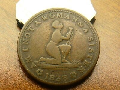 1838 Hard Times Token - Slave Token - Am I Not A Woman and A Sister in brass
