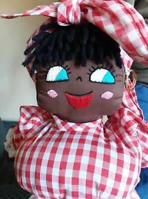 Vintage Handmade Black Americana Mammy Cloth Doll with a large chest 15""