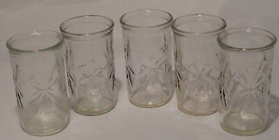 Vintage Ball Atomic Star Burst Jelly Jar Juice Glasses Set of 5