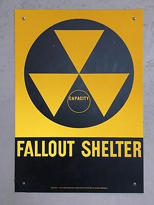 "New Old Stock Vintage Fallout Shelter Aluminum Sign 1960s (14"" x 20"")"