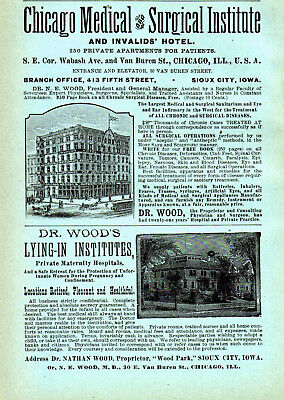1890 Chicago Medical Institute, Sioux City, Iowa Branch Dr. Nathan Wood Color Ad