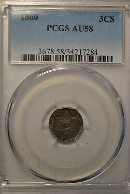 1860 3 cent silver, type III, PCGS AU58