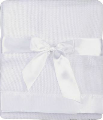Thermal Waffle Weave Baby Blanket with Satin Nylon Trim (White) White New