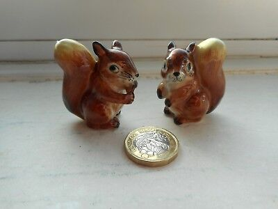 Red Squirrels - 2 X  Pottery Beautiful Red Squirrels Miniature Figurines