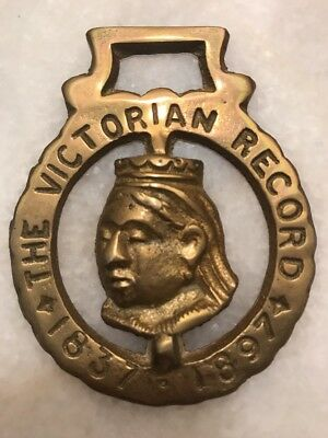 Antique / Vintage English Horse Brass Queen Victoria The Victorian Record 1837