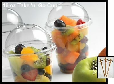 100 Count Plastic CLEAR 16 oz Cup and No-Hole Dome Lid, Parfait/Snack Cup... New
