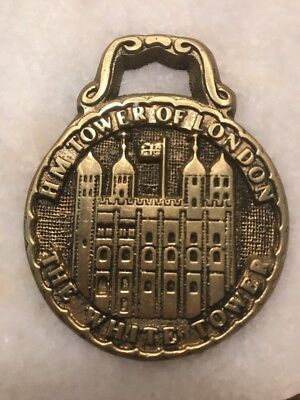 Antique / Vintage English Horse Brass H M HM Tower Of London The White Tower