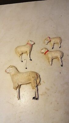 Antique Christmas Putz Sheep Wooly Germany 1900's Early