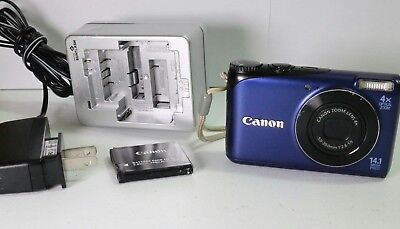 Canon PowerShot A2200 HD BLUE Camera W/ Case 2 CANON BATTERIES AND CHARGER