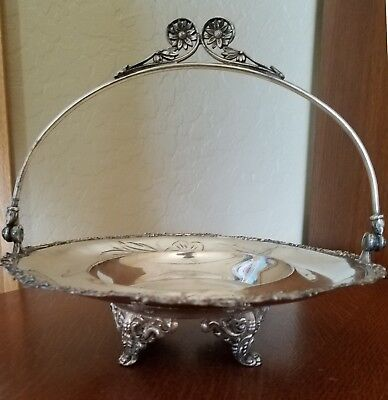 Antique Meriden Silver Plate Brides Centerpiece Basket