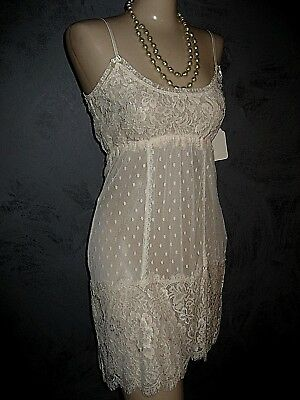 Claire Pettibone Bridal Chemise Nightgown Short  Ivory AMANDA Lace L NWT $148