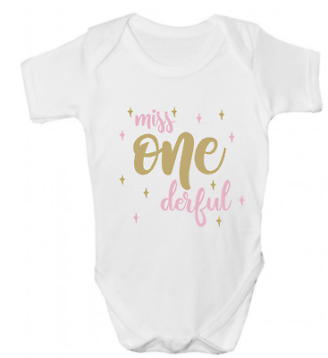 Miss One-Derful Funny Baby Grow Body Suit Vest 1St First Birthday Baby Gift